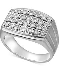 Macy's - Diamond Cluster Ring (1/2 Ct. T.w.) In Sterling Silver - Lyst