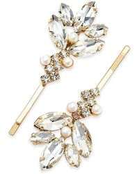 INC International Concepts Inc Gold-tone 2-pc. Imitation Pearl & Crystal Leaf Hair Pin Set, Created For Macy's - Metallic