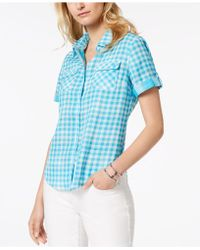 Tommy Hilfiger - Cotton Gingham Utility Shirt, Created For Macy's - Lyst