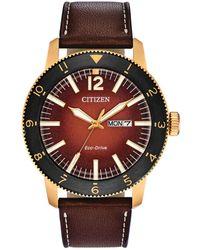 Citizen - Brycen Brown Leather Strap Watch 44mm - Lyst