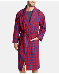 Nautica Buffalo Plaid Shawl-collar Cotton Robe - Red