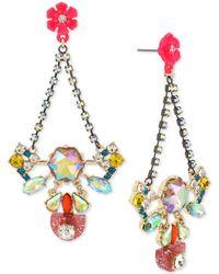 Betsey Johnson - Two-tone Multi-crystal & Flower Drop Earrings - Lyst