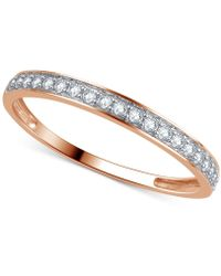 Macy's Diamond Thin Band (1/5 Ct. T.w.) In 14k Yellow, White Or Rose Gold - Metallic