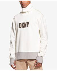 DKNY - Colorblocked Logo Graphic Funnel-neck Sweatshirt - Lyst