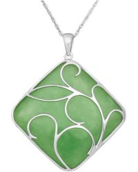 Macy's - Sterling Silver Necklace, Jade Swirl Overlay Pendant - Lyst