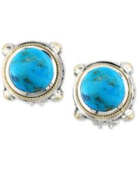 Effy Collection Turquesa By Effy Manufactured Turquoise Stud Earrings (8-3/8 Ct. T.w.) In Sterling Silver And 18k Gold - Blue
