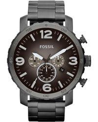 Fossil - Men's Chronograph Nate Smoke Tone Stainless Steel Bracelet Watch 50mm Jr1437 - Lyst