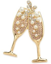 Charter Club Gold-tone Crystal & Imitation Pearl Champagne Toast Pin, Created For Macy's - Metallic
