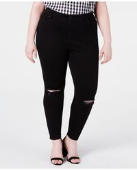 Celebrity Pink Plus Size High-rise Distressed Skinny Ankle Jeans - Black