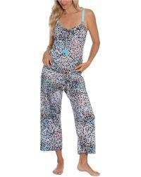 Linea Donatella Printed Cami & Cropped Pants Pyjama Set - Natural