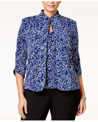 Alex Evenings - Plus Size Printed Mandarin Jacket & Top Set - Lyst