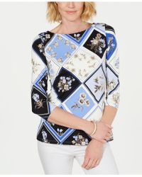 Charter Club - Printed 3/4-sleeve Top, Created For Macy's - Lyst