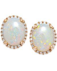 Macy's - Opal (2 Ct. T.w.) And Diamond (1/6 Ct. T.w.) Stud Earrings In 14k Rose Gold - Lyst