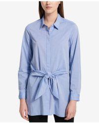 Calvin Klein - Cotton Tie-front Blouse - Lyst