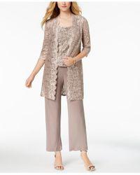 R & M Richards Petite 3-pc. Sequined Lace Pantsuit - Multicolour