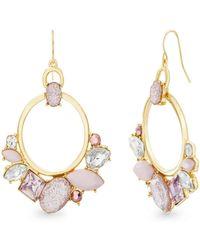 Catherine Malandrino - Light And Pastel Pink, White Rhinestone Cluster Yellow Gold-tone Hoop Earrings - Lyst