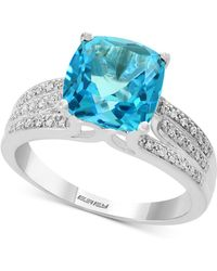 Effy Collection Effy® Blue Topaz (4-3/8 Ct. T.w.) & Diamond (1/8 Ct. T.w.) Ring In 14k White Gold