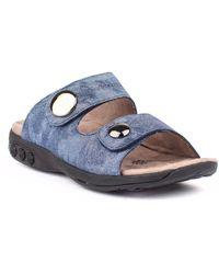 Therafit Shoe Eva Leather Adjustable Strap Slip On Sandal - Blue
