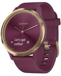 Garmin Unisex Vívomove Hr Sport Berry Silicone Strap Hybrid Touchscreen Smart Watch 43mm, Created For Macy's - Purple