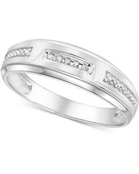 Macy's - Diamond Accent Wedding Band In 14k White Gold Or Yellow Gold - Lyst