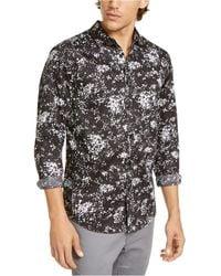INC International Concepts Big & Tall Paint Splatter-print Shirt, Created For Macy's - Black
