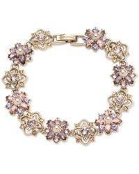 Marchesa Gold-tone Crystal & Imitation Pearl Cluster Flex Bracelet - Metallic