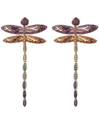 Noir Jewelry Mutli-colored Cubic Zirconia Dragon Fly Stud Earring - Metallic