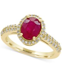 Effy Collection Certified Ruby (1-3/8 Ct. T.w.) And Diamond (1/3 Ct. T.w.) Ring In 14k Gold - Red