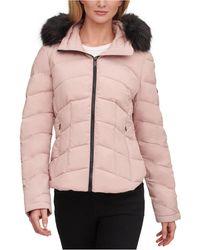 Calvin Klein Faux-fur-trim Hooded Stretch Puffer Coat - Pink