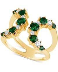 Macy's - Emerald (9/10 Ct. T.w.) & Diamond (1/3 Ct. T.w.) Open Cuff Ring In 14k Gold, Also Available In Ruby (1-1/4 Ct.t.w.) - Lyst
