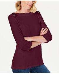 Karen Scott 3/4-sleeve Top, Created For Macy's - Purple