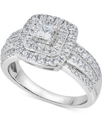 Macy's - Diamond Princess Cluster Engagement Ring (1 Ct. T.w.) In 14k White Gold - Lyst
