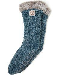 Dearfoams Chenille Knit Blizzard Slipper Sock, Online Only - Blue