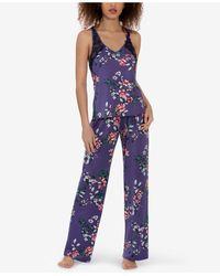 Linea Donatella Lainie Trellis Tank Top & Pants Pajama Set - Purple