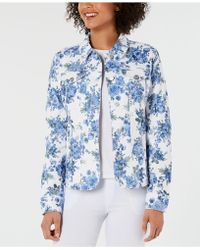 Charter Club - Floral-print Denim Jacket, Created For Macy's - Lyst