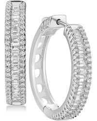 Macy's - Cubic Zirconia Small Hoop Earrings In Sterling Silver - Lyst