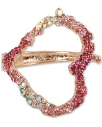 Betsey Johnson | Rose Gold-tone Pink Stone Heart Cuff Bracelet | Lyst