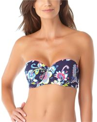 Anne Cole Holiday Paisley Bandeau Bra-sized Bikini Top With Underwire - Blue