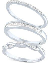 Macy's 3-pc. Set Diamond Stacking Rings (1/4 Ct. T.w.) - Metallic