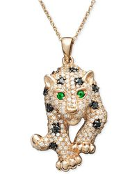 Effy Collection - Black And White Diamond (3/4 Ct. T.w.) And Multistone Panther Pendant Necklace In 14k Rose Gold - Lyst