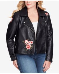 Jessica Simpson Trendy Plus Size Kenley Faux-leather Moto Jacket - Black