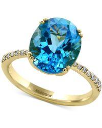 Effy Collection - Effy® Blue Topaz (5-9/10 Ct. T.w.) & Diamond (1/8 Ct. T.w.) Ring In 14k Gold - Lyst