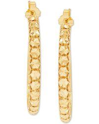 Effy Collection Effy Oro By Effy® Bead-design Hoop Earrings In 14k Gold - Metallic