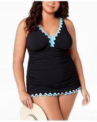 Gottex - Plus Size Tri Colore Tummy Control Swimdress - Lyst