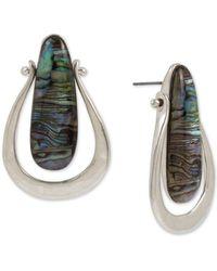 Robert Lee Morris Silver-tone Abalone-look Sculptural Earrings - Multicolour