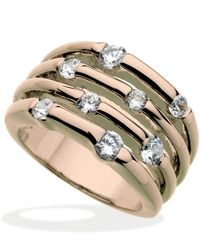 Guess - Rose Gold-tone Multirow Crystal Stone Ring - Lyst
