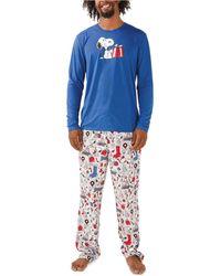 Munki Munki Snoopy Holiday Family Pajama Set - Gray