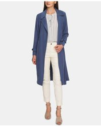 1.STATE Soft Twill Belted Trench Coat - Blue