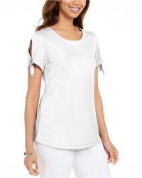 Karen Scott Tie-sleeve T-shirt, Created For Macy's - White