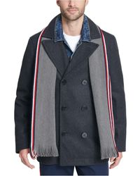 Tommy Hilfiger Wool Blend Peacoat With Scarf - Multicolor